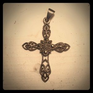 Sterling and marcasite cross pendant